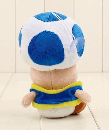 Blå Toad mushroom bamse - Super Mario - 17cm - bagfra