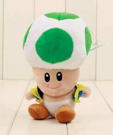 Grøn Toad mushroom bamse – Super Mario – 17cm