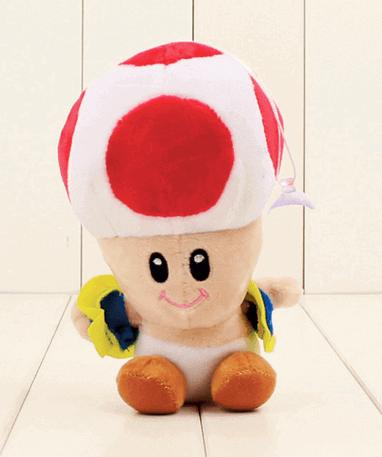 Rød Toad mushroom bamse – Super Mario – 17cm