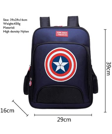 Captain America skoletaske til børn - Størrelser