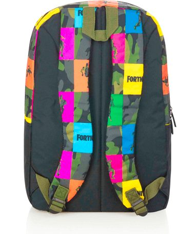 Farvede Fortnite skoletaske - bagfra