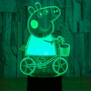 Gurli Gris på cykel 3D Lampe