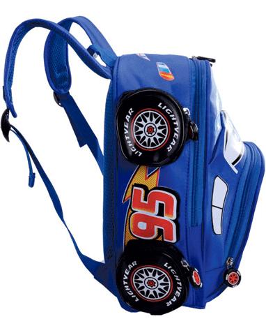 Lynet McQueen Skoletaske - Biler - Blå fra siden