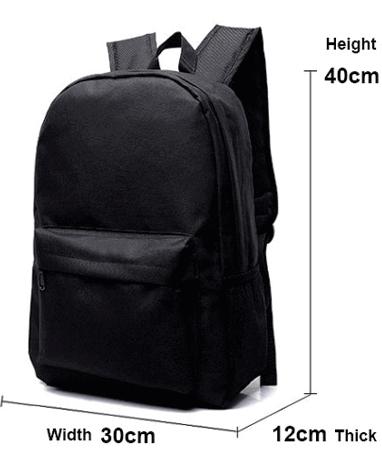Skoletaske størrelse