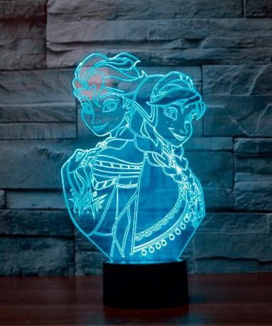 Elsa Frozen 3D lampe