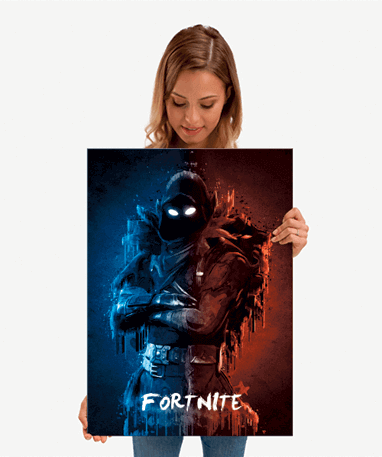 Fortnite Raven metal plakat - mellem