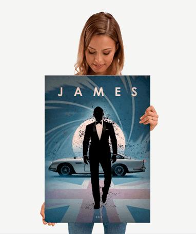 James Bond 007 plakat - Metal - Mellem