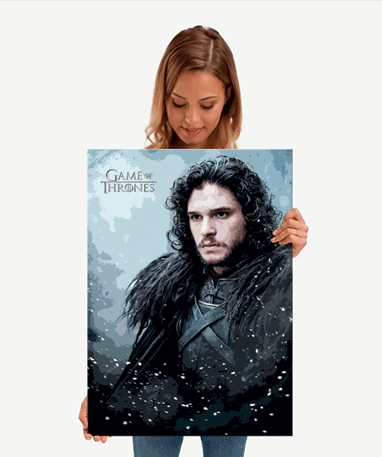 John Snow plakat - Metal - Game Of Thrones - Mellem