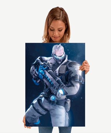Soldier 76 plakat - Metal - Overwatch - Mellem