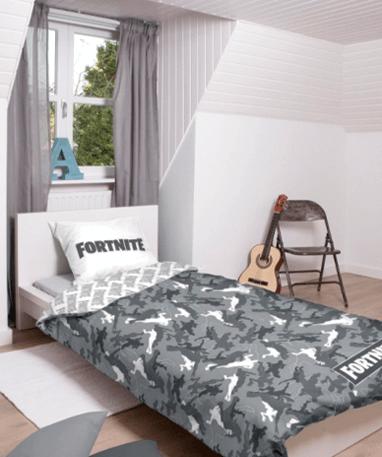 Fortnite sengebetræk - militær grå