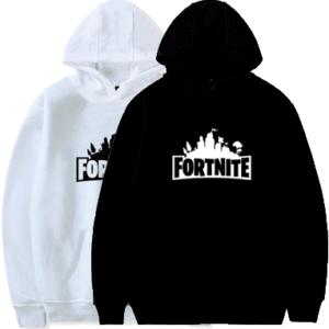 Fortnite hoodie sort og hvid