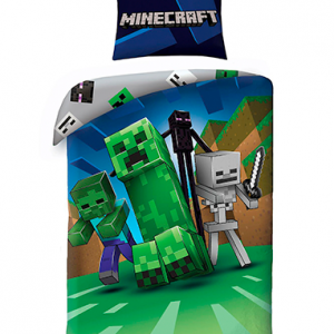 Minecraft sengetøj - creeper - skelet - zombie