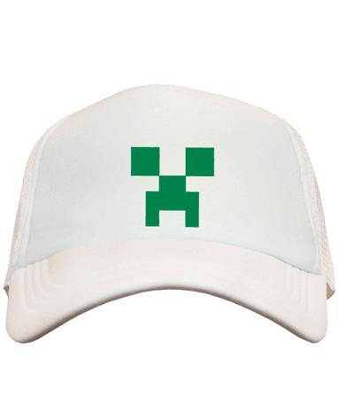 Hvid Minecraft Creeper kasket - cap