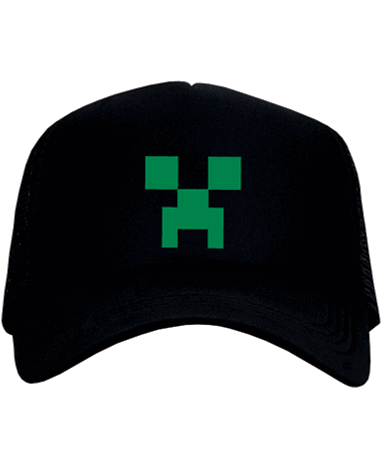 Sort Minecraft Creeper kasket - cap