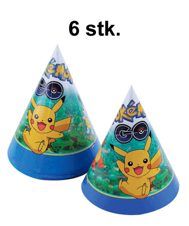 Image of   Pokémon Fødselsdag / Temafest - 6 stk. Fødselsdagshatte
