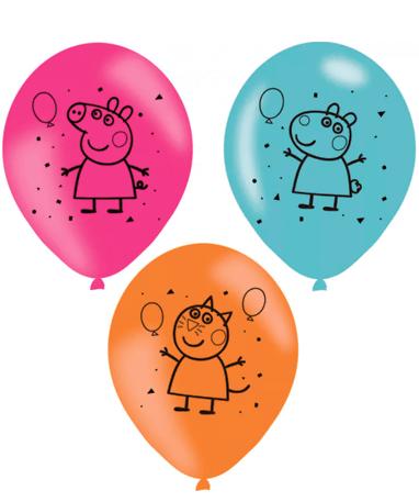 Gurli Gris farvede balloner 6stk - 27cm