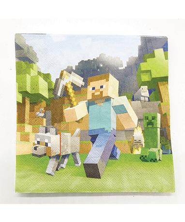 Minecraft fødselsdags servietter - pynt