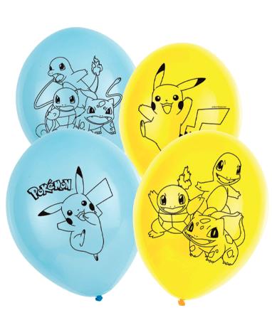 Gul og blå Pokemon balloner - 6 stk