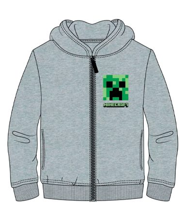 Minecraft hættetrøje med lynlås