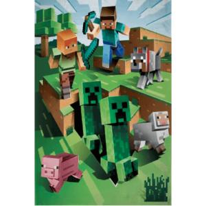 Minecraft tæppe 130x170 - Fleece