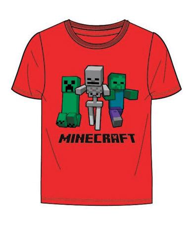 Minecraft rød t-shirt til børn (6-12 år)