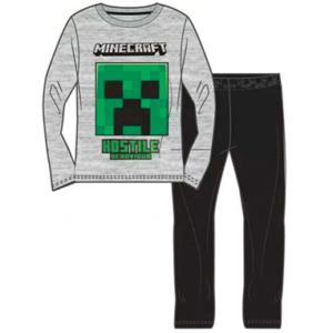 Minecraft langærmet pyjamas sæt - Grå