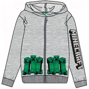 Minecraft grå hættetrøje med lynlås